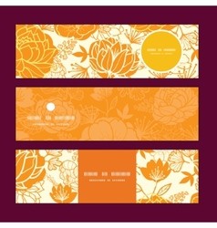 Golden art flowers horizontal banners set vector
