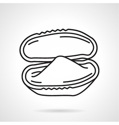 Opened oyster black line icon vector
