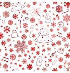 Seamless pattern with snowflakes and xmas symbols vector