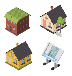 Isometric retro flat house icons and symbols set vector