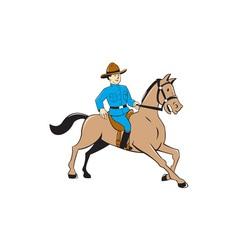 Mounted police officer riding horse cartoon vector