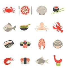 Seafood icons set flat vector