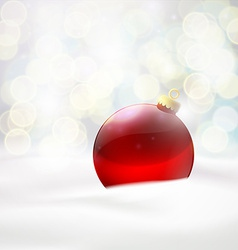 Red ball lying in the snow vector