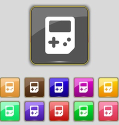 Tetris icon sign set with eleven colored buttons vector