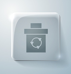 Glass square icon with highlights basket garbage vector