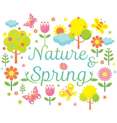 Spring season object icons heading vector