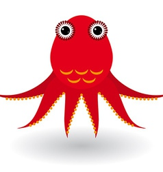 Red octopus on a white background vector