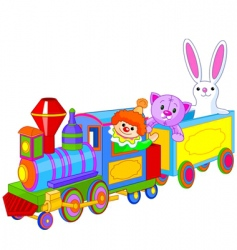 Toy train and toys vector