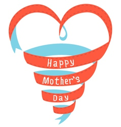 Happy mothers day heart ribbon vector