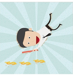 Businessman find money footprint vector