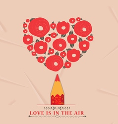Flower heart with red pencil vector