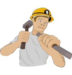 Builder or the miner works with a hammer and a vector