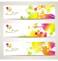 Set of three banners abstract headers with bright vector