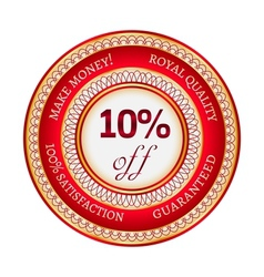 Label on 10 percent discount vector
