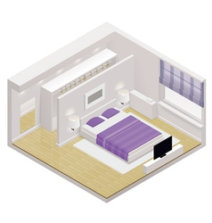 Isometric bedroom icon vector