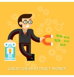 Great ideas attract money businessman holding vector