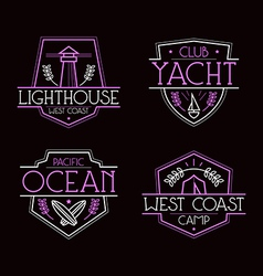 Sea badges and icons vector
