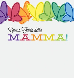 Italian line of butterflies mothers day card in vector