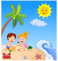 Children making sand castle at tropical beach vector