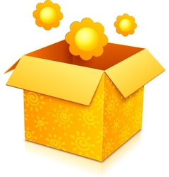 Orange gift box with yellow flowers vector