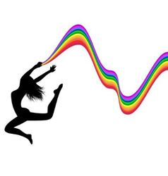 Female silhouette in a jump holds a rainbow vector