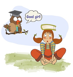 Young girl studying with her teacher an owl vector