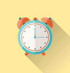 Flat icon of retro alarm-clock with long shadow - vector