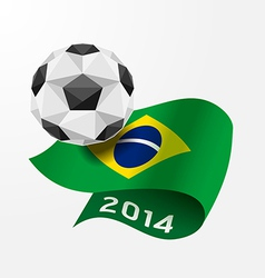 Soccer ball geometric on flag of brazil 2014 vector