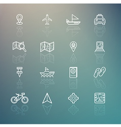 Travel icons on retina background vector