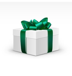 White gift box with green ribbon isolated vector