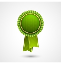 Green award badge with ribbons eco vector