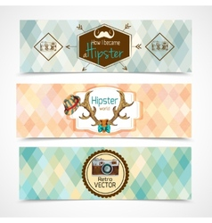 Hipster banners horizontal vector