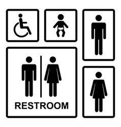 Restroom icons set vector