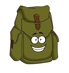 Tourist green canvas rucksack vector