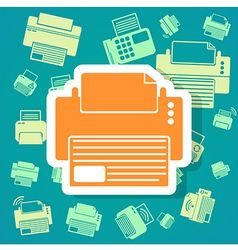 Printer icons background vector