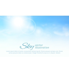 Bright summer sun and clouds horizontal sky vector