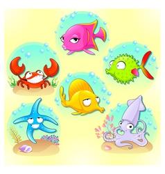 Funny sea animals vector