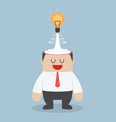 Light bulb of idea exploding from businessman head vector