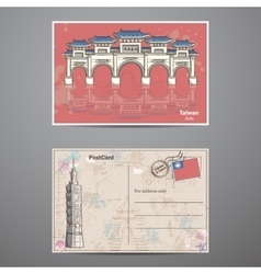 Set two sides of a postcard with the image taiwans vector