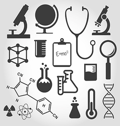 Black science icon set vector