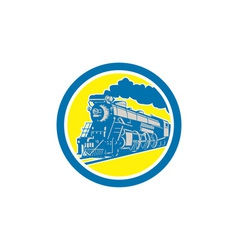 Steam train locomotive circle retro vector