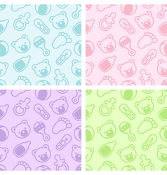 Seamless baby shower patterns vector