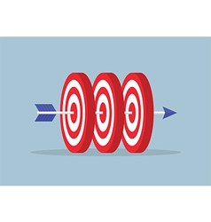 Arrow hitting center of the three targets vector