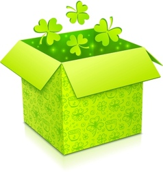Green gift box with clovers inside vector