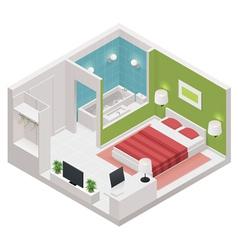 Isometric hotel room icon vector