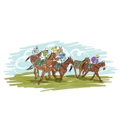 Horse racing sketch for your design vector