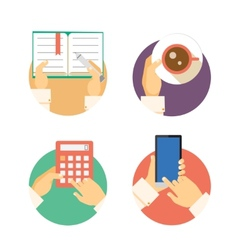 Set of business hands icons showing actions vector