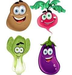 Funny cartoon cute vegetables lettuce radishes vector