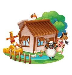 Animals and cottage vector