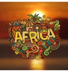 Africa hand lettering and doodles elements vector